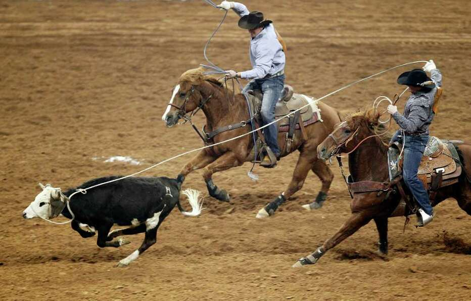 Tyler Wade and Tyler Barton compete in Team Roping during the BP Super Series IV Round 2 on Friday,
