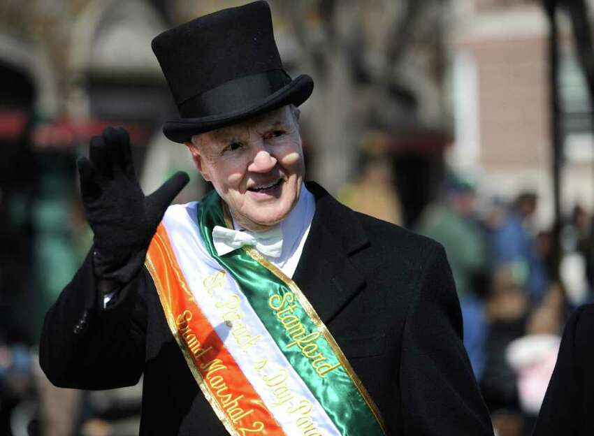 Grand Marshal Tim Curtin walks in Saturday's Saint Patrick's Day parade in Stamford on March 10, 2012.