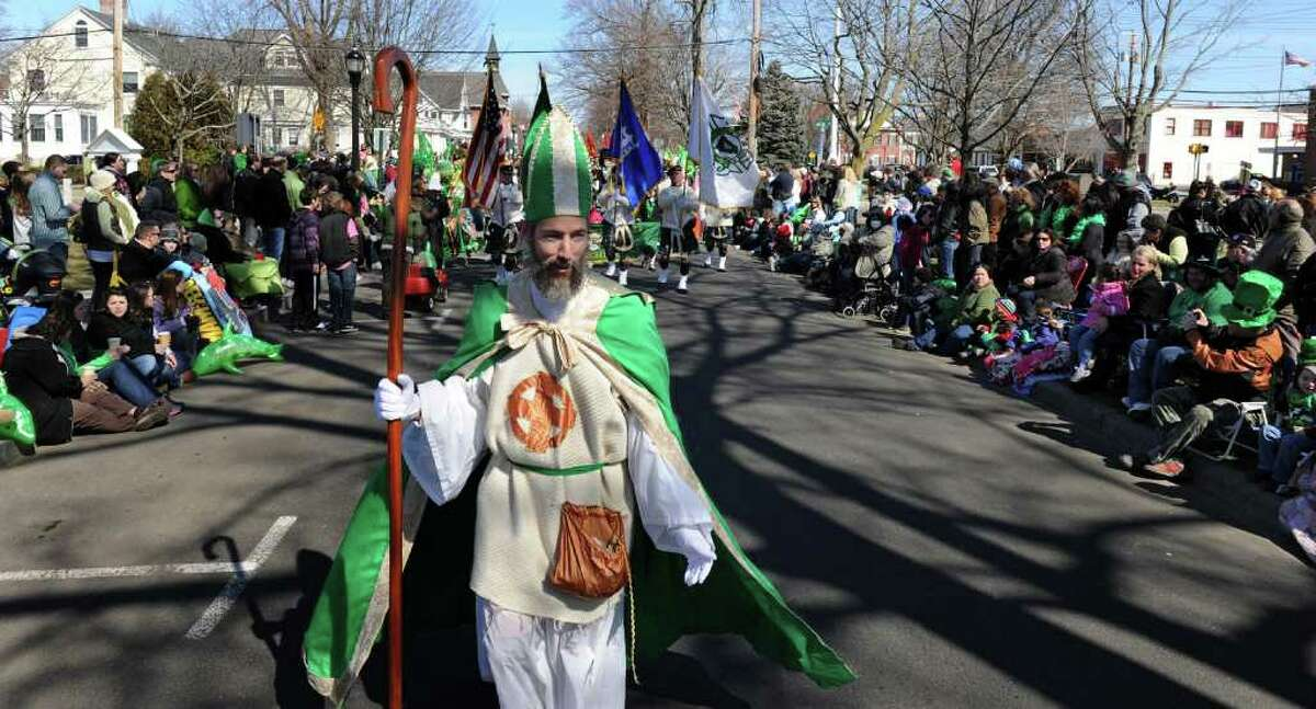 Peter Ortoleva, of Milford, portrays St. Patrick in the St. Patrick's Day Parade in downtown Milford, Conn. on Saturday March 10, 2012. This is the 15th year Ortoleva has taken part in the parade.