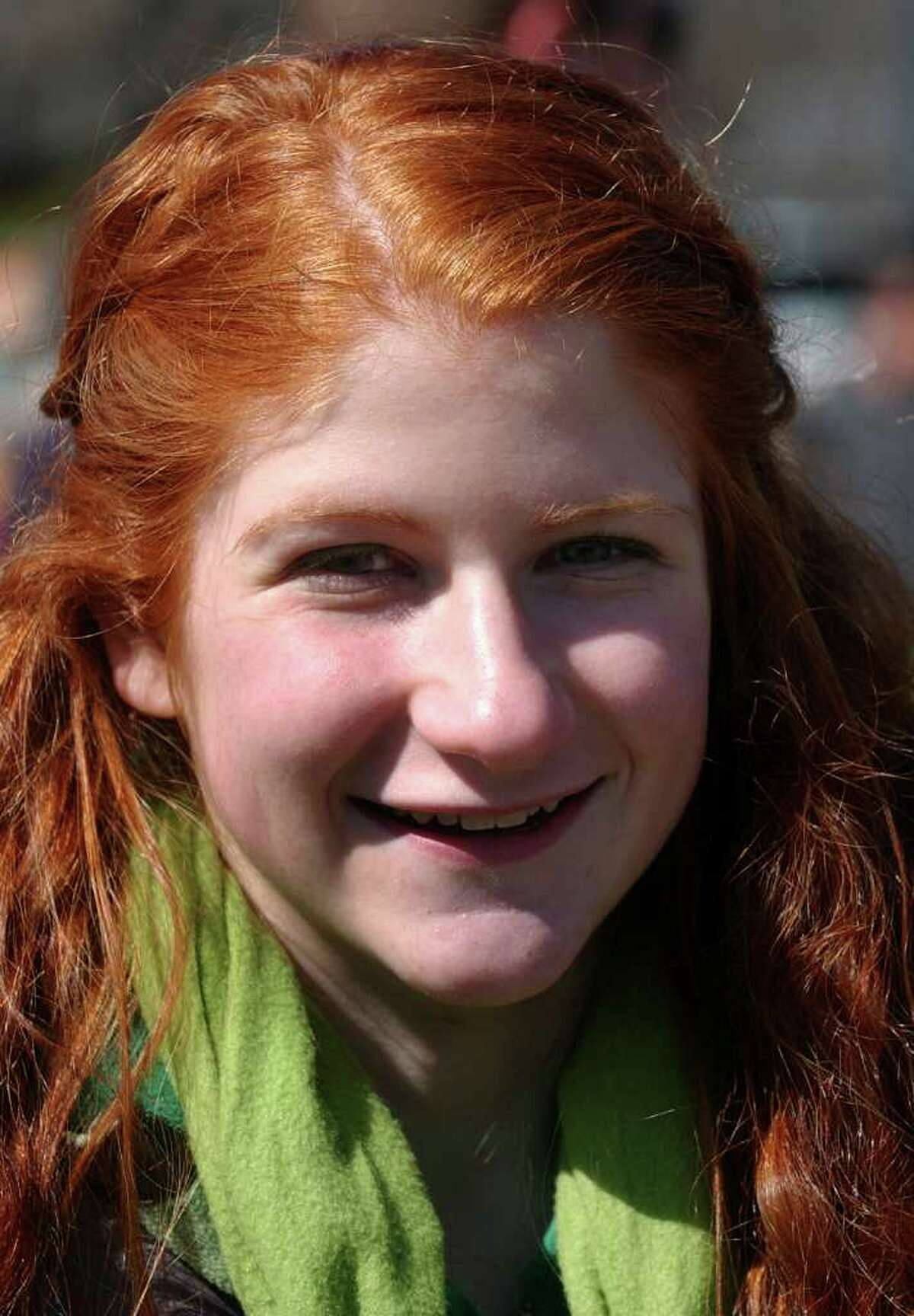 Casey Wilcox, of Milford, attends the St. Patrick's Day Parade in downtown Milford, Conn. on Saturday March 10, 2012.