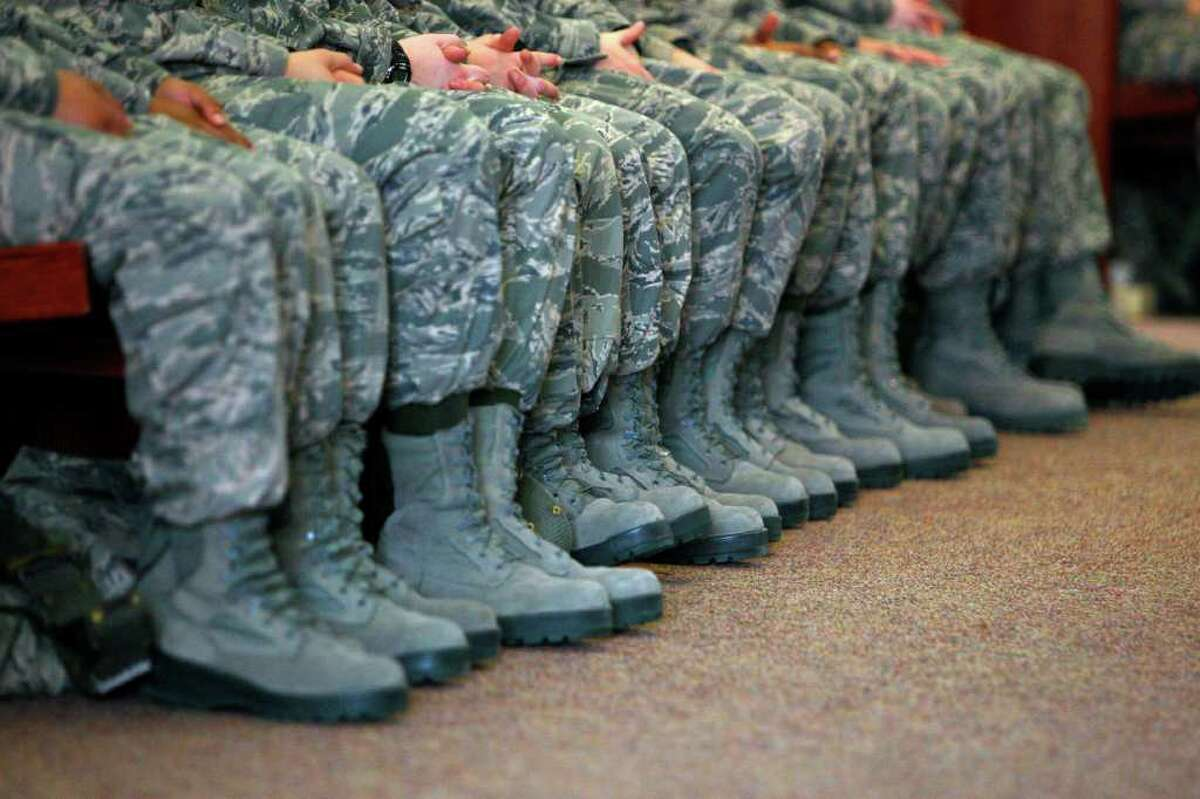 March 2, 2012: Air Force trainees at Lackland Air Force Base listen as officials explain to them about sexual misconduct and their responsibilities to report it.