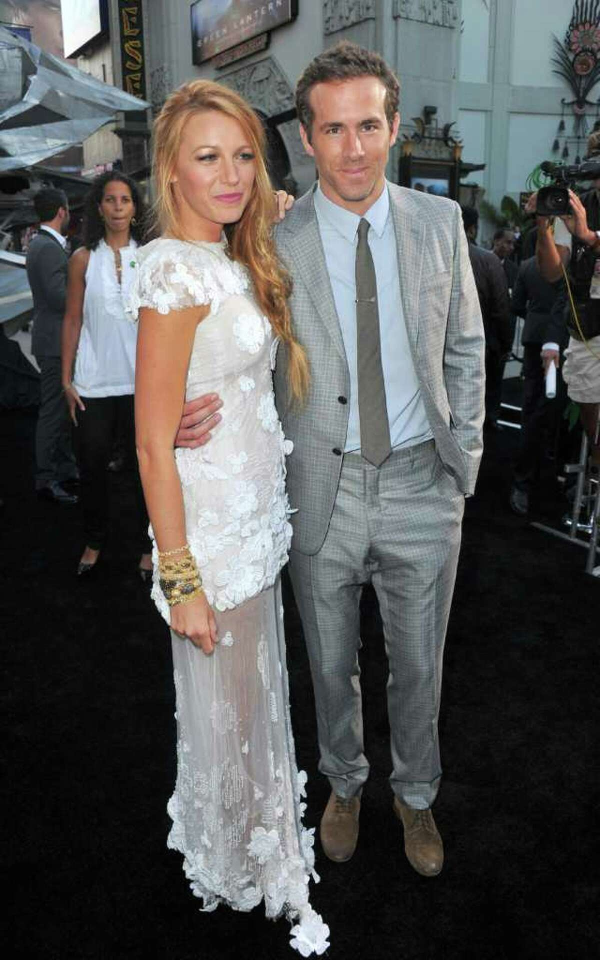 Actors Blake Lively and Ryan Reynolds arrive at the Green Lantern premiere in Hollywood in June. The couple, who are rumored to be ring shopping, were spotted at Doppio in Greenwich last weekend. (Photo by Alberto E. Rodriguez/Getty Images)