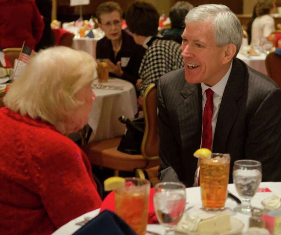 Senate candidate Tom Leppert attends a recent Midland County Republican Women's luncheon. One political analyst said Leppert is a moderate having to adopt the more immoderate positions of the GOP electorate. Photo: Tim Fischer