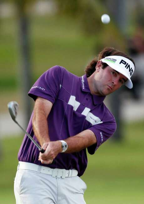 Bubba Watson (above) holds a three-shot lead over Keegan Bradley and Justin Rose. Photo: AP