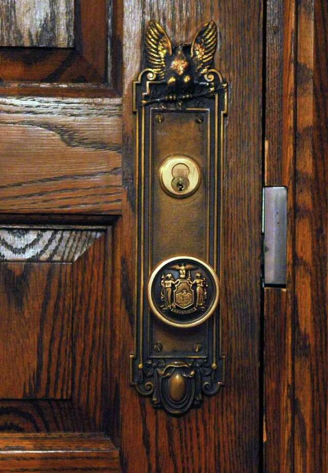 Detail of one of the doors into the Governor's offices at the Capitol in Albany Wednesday March 7, 2012.   (John Carl D'Annibale / Times Union) Photo: John Carl D'Annibale