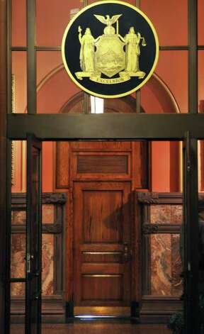 One of the doors into the Governor's offices on the second floor of the Capitol in Albany Wednesday March 7, 2012.   (John Carl D'Annibale / Times Union) Photo: John Carl D'Annibale