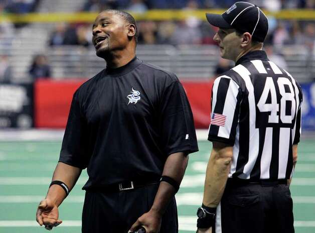 Talons coach Lee Johnson objects to a referee's call as the San Antonio Talons beat the Utah Blaze 54-48 at the Alamodome  on March 10, 2012 Tom Reel/ San Antonio Express-News Photo: TOM REEL, Express-News / San Antonio Express-News