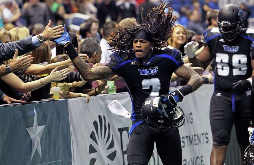 Eric Crocker accepts congratulations for defensive play in the fourth quarter as the San Antonio Talons beat the Utah Blaze 54-48 at the Alamodome on March 10, 2012 Tom Reel/ San Antonio Express-News