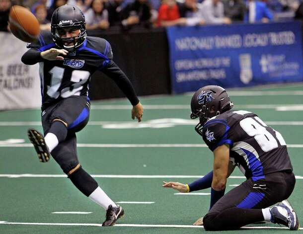 Stefon Demos kicks an extra point as the San Antonio Talons beat the Utah Blaze 54-48 at the Alamodome  on March 10, 2012 Tom Reel/ San Antonio Express-News Photo: TOM REEL, Express-News / San Antonio Express-News