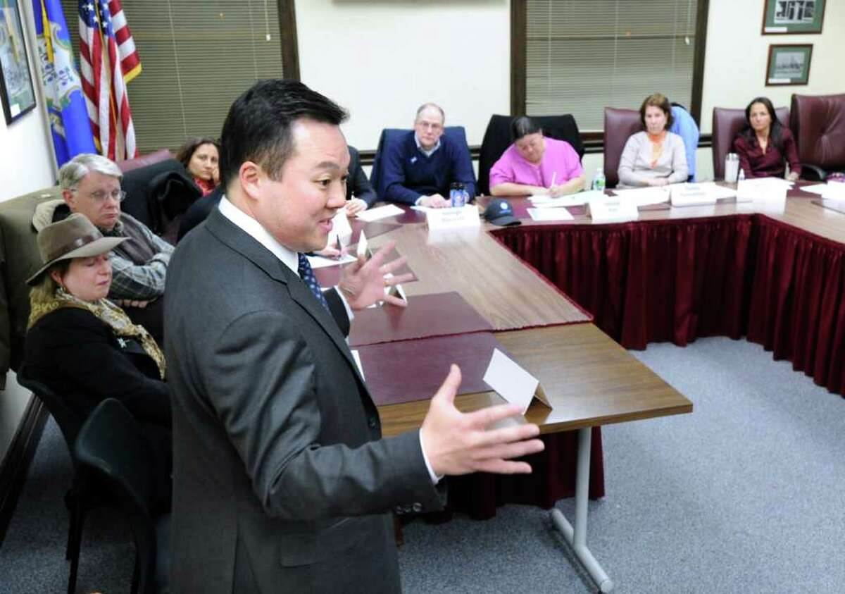 Democratic Senate candidate William Tong speaks to the New Canaan Democratic Town Committee at New Canaan Town Hall Tuesday night, March 6, 2012. Tong spoke to the group to ask for support in the upcoming nominating conventions.