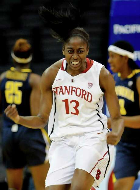 Stanford's Nnemkadi Ogwumike poured in 29 points, including her first 2-pointers of the season, in the Cardinal's Pac-12 title-clinching win over Cal. Photo: AP