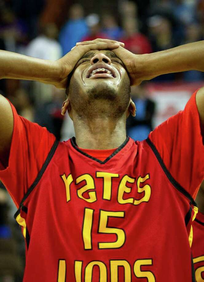 Houston Yates center  Maurice Ellis reacts after the Lions loss to Dallas Kimball in the UIL class 4A state championship high school basketball game at the Erwin Center on Saturday, March 10, 2012, in Austin.  Kimball won the game 78-75.  ( Smiley N. Pool / Houston Chronicle ) Photo: Smiley N. Pool / © 2012  Houston Chronicle