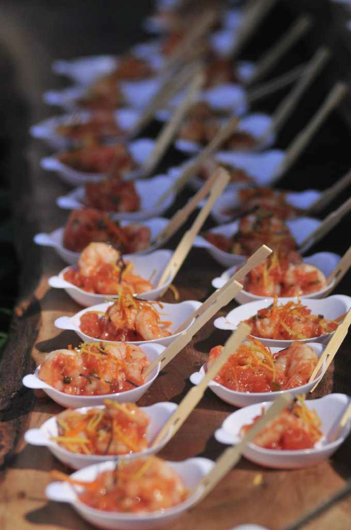 Shrimp Ceveche' was also served during the Corona Paella Challenge at the Pearl Brewery Sunday.
