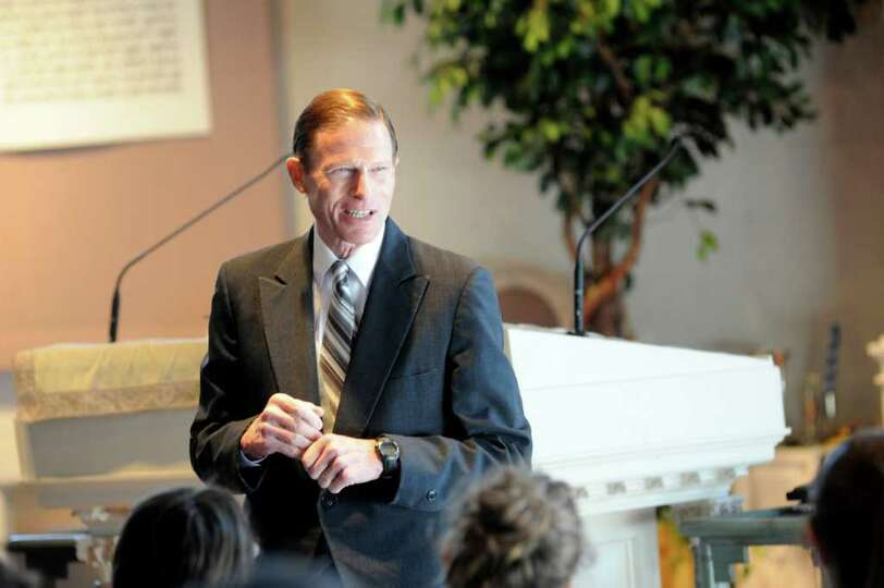 Richard Blumenthal, D-Conn. speaks to adults and teens about his recent trip to the Middle East and