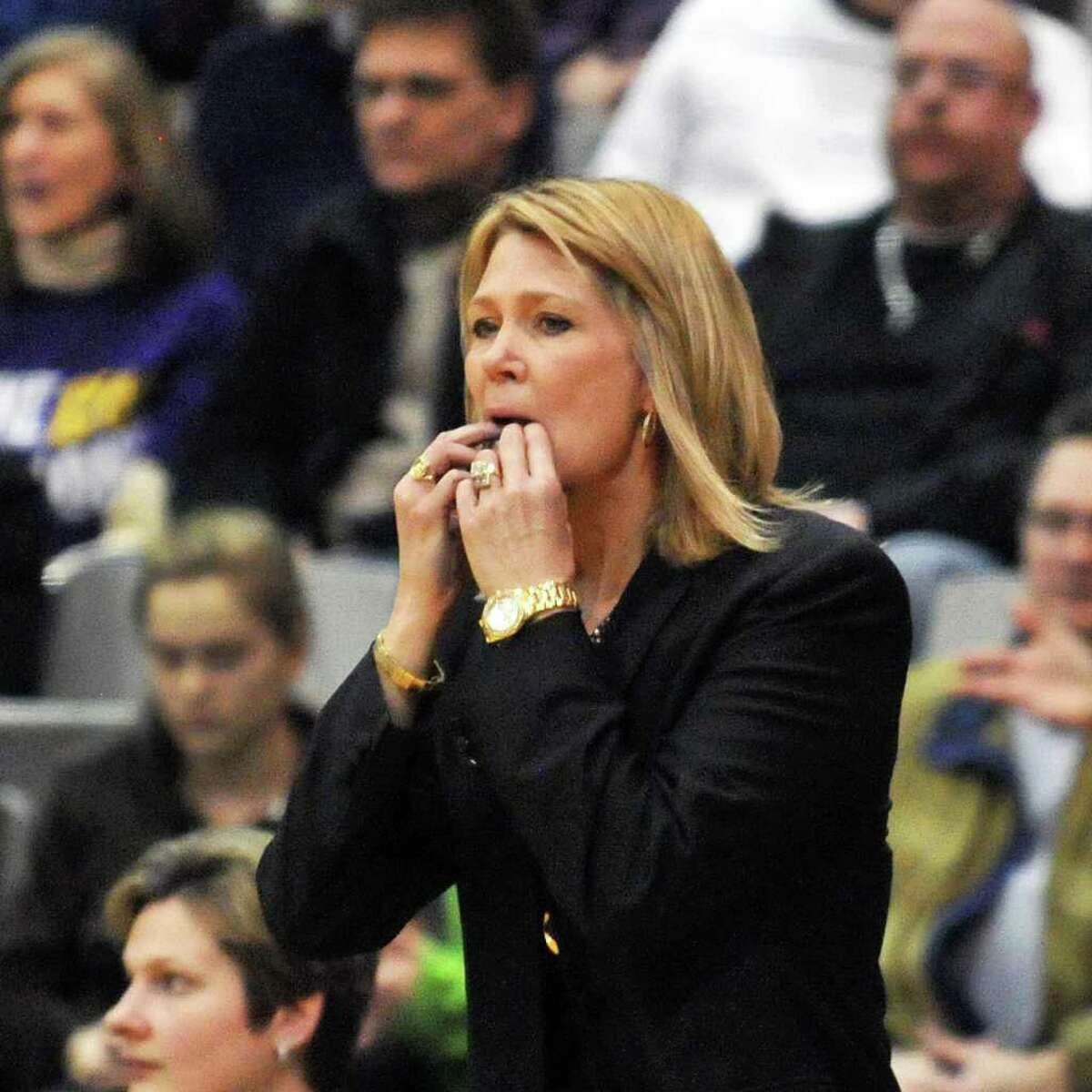 UAlbany's head coach Katie Abrahamson-Henderson watches a close game between her team and UMBCfor the championship of the America East at the SEFCU Arena in Albany Saturday March 10, 2012. (John Carl D'Annibale / Times Union)