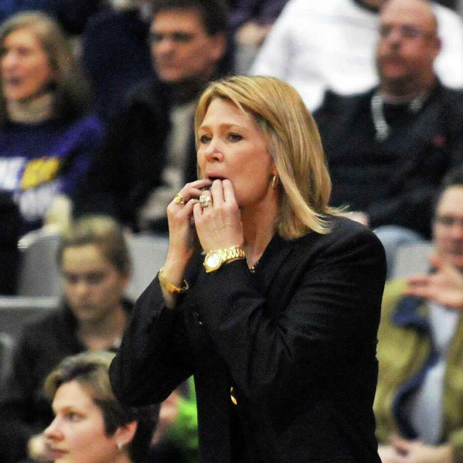UAlbany's head coach Katie Abrahamson-Henderson watches a close game between her team and UMBCfor the championship of the America East at the SEFCU Arena in Albany Saturday  March 10, 2012. (John Carl D'Annibale / Times Union) Photo: John Carl D'Annibale / 00016692A