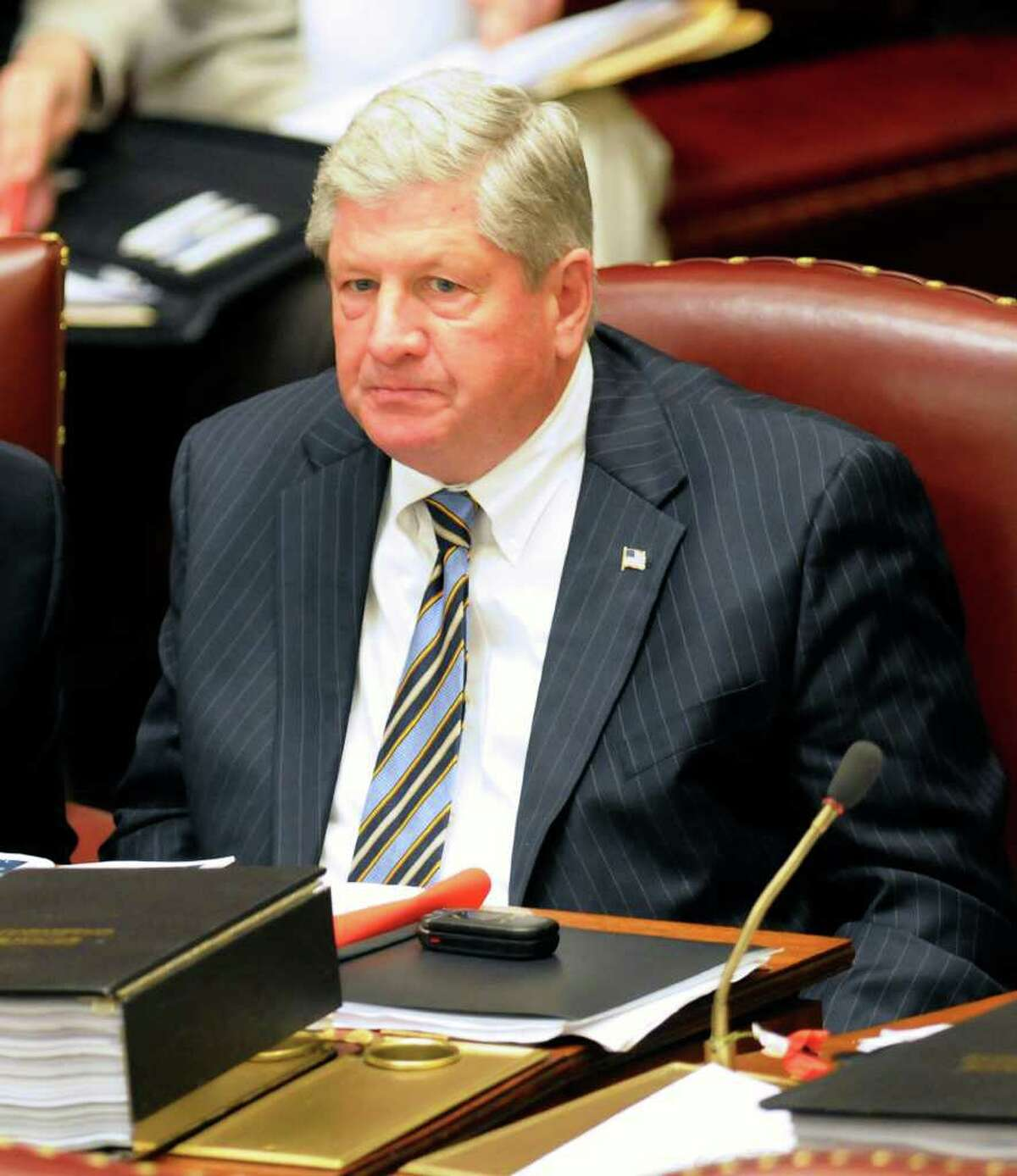 Sen. Roy J. McDonald, R- Stillwater, during a session of the New York state Senate at the Capitol in Albany, N.Y., Tuesday, June 14, 2011. (AP Photo/Hans Pennink)