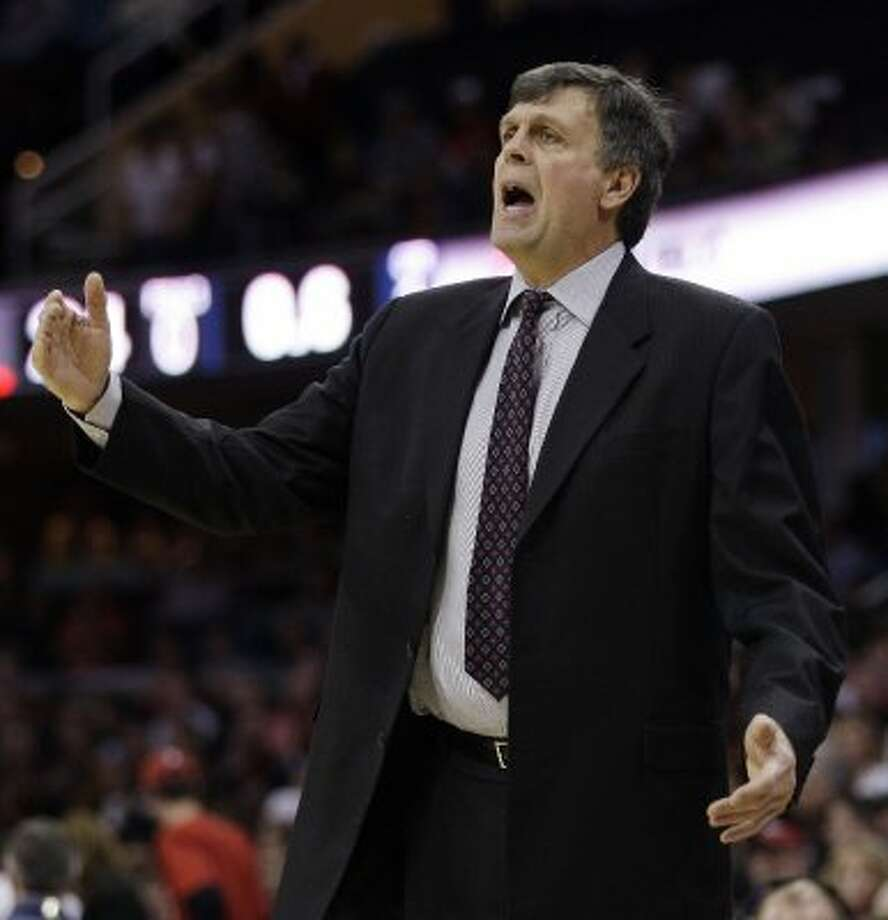 Rockets head coach Kevin McHale reacts to the action in the first quarter.  (Tony Dejak / Associated Press)