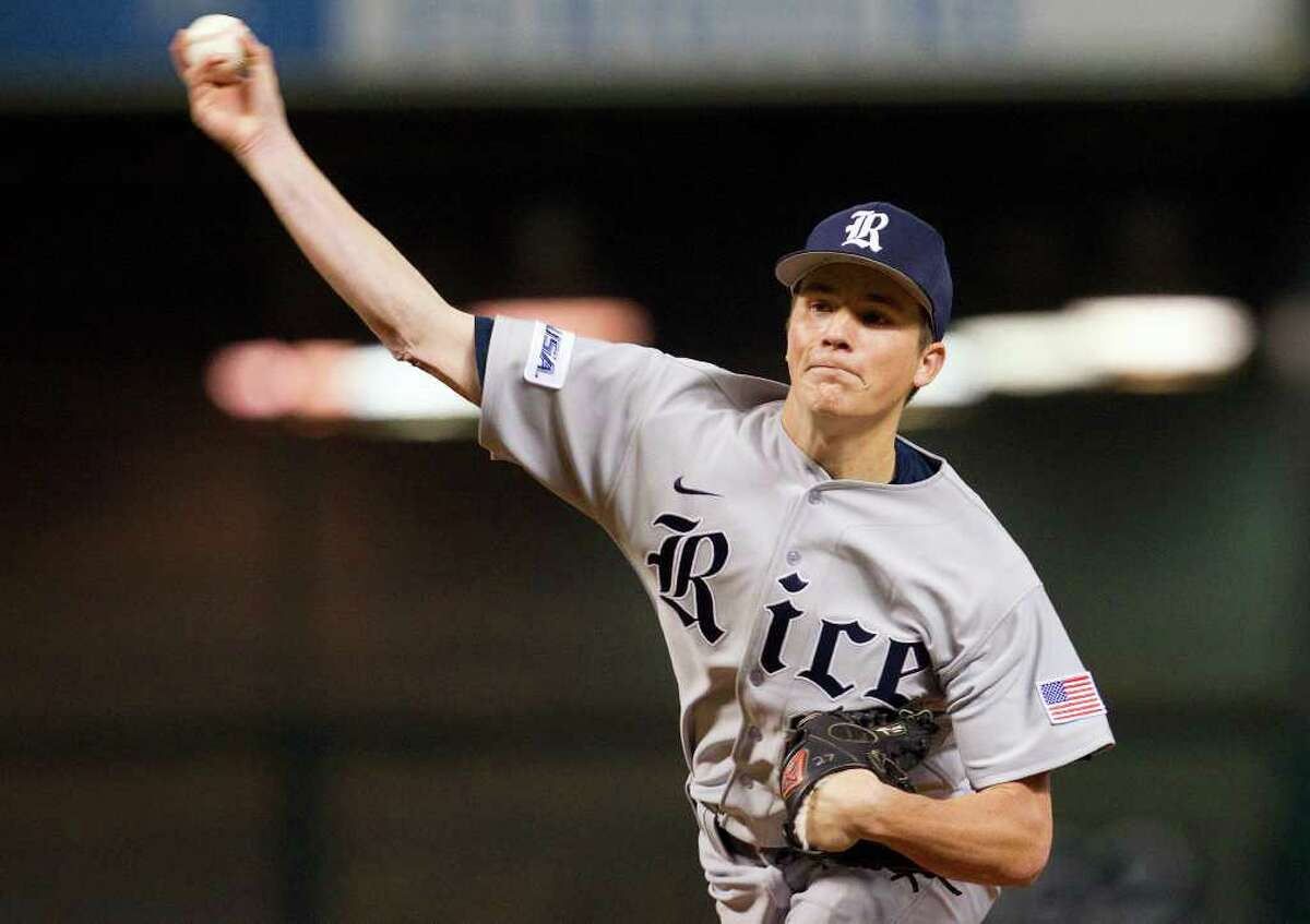 Rice University pitcher Jordan Stephens is out for the season after suffering an injury during the Houston College Classic at Minute Maid Park last weekend. (Cody Duty / Houston Chronicle)