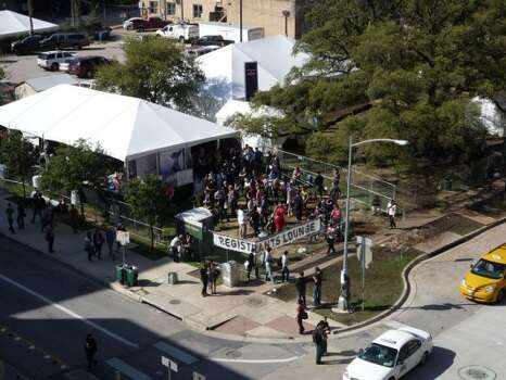 With no rain in sight, attendees enjoy the outdoors on Day 3 of SXSW's Interactive Conference.