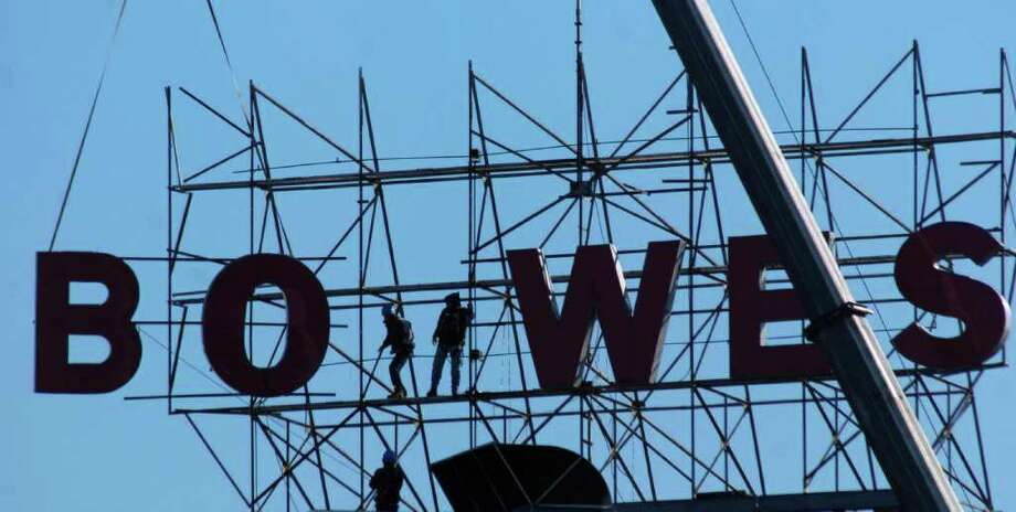 You remember when the Pitney Bowes sign used to be a landmark. Photo: Andrew Sulivan, Stamford Advocate / Stamford Advocate