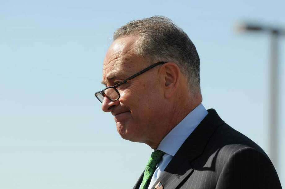 Sen. Charles Schumer announced a plan Monday morning March 12, 2012 in Rensselaer, N.Y. to crack down on poorly performing bus carrier companies who primarily specialize in low cost transit, such as discount fares to New York City. Schumer?s bill would require bus companies to display a viewable letter grade safety rating which would allow consumers to make educated decisions on who they travel with. The Senate bill would be voted on next week. (Will Waldron / Times Union) Photo: WW
