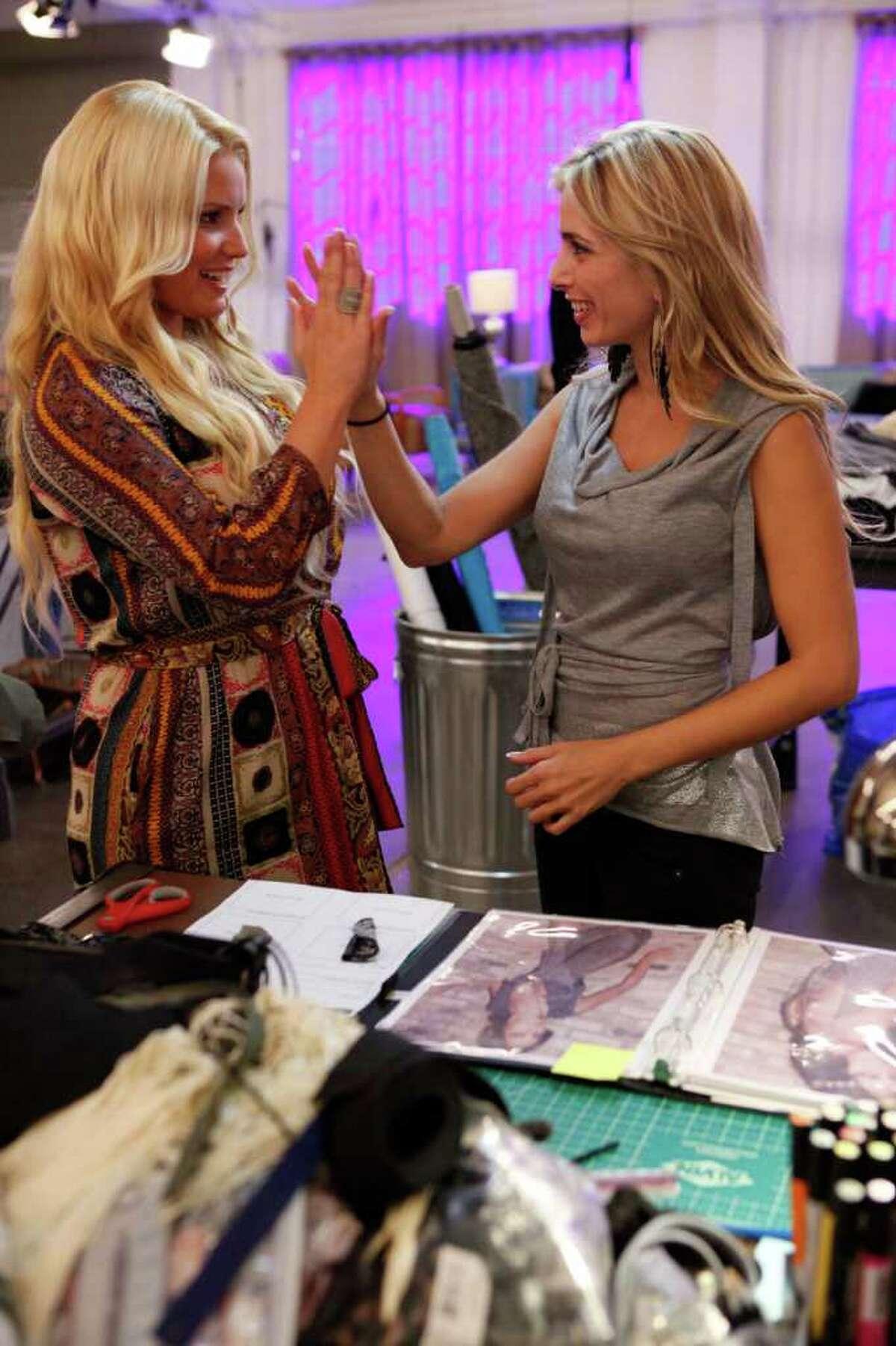 Jessica Simpson, left, advises Luciana Scarabello on