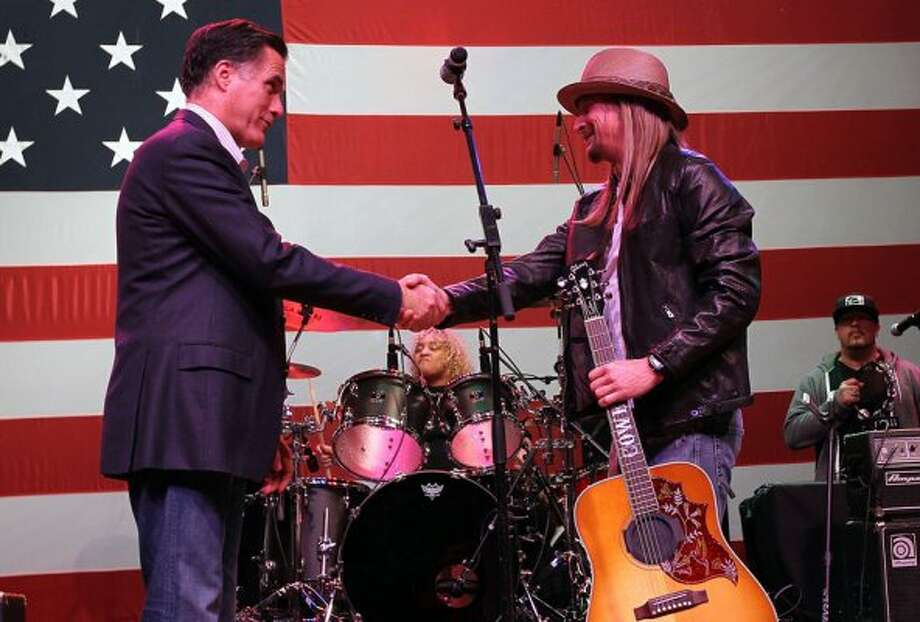 Obama may have The Boss, but Romney has Kid Rock. The musician is supporting Romney, a fellow Michigan native, and played a rally for him. (Justin Sullivan / Getty Images)