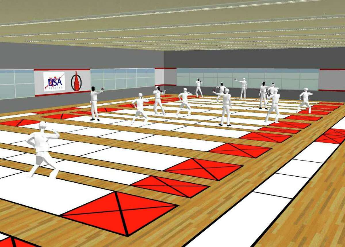 A rendering depicts the interior of the Fencing and International Sports Center planned for St. Anthony High School in the Monte Vista neighborhood. The center could be completed by late this year, and the site would be available for the NCAA fencing finals in 2013 and 2014.