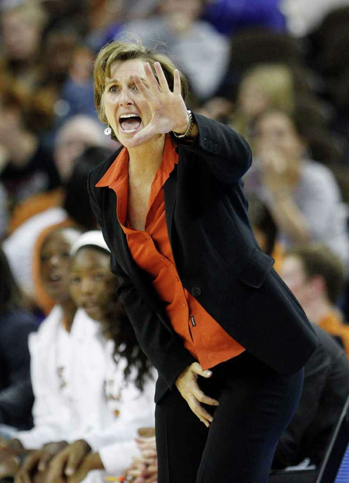 Texas coach Gail Goestenkors during the second half of an NCAA women's college basketball game against Stanford, Friday, Nov. 11, 2011, in Austin, Texas.