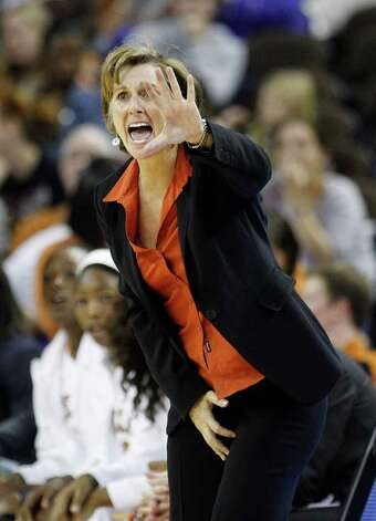 Texas coach Gail Goestenkors during the second half of an NCAA women's college basketball game against Stanford, Friday, Nov. 11, 2011, in Austin, Texas. Photo: AP