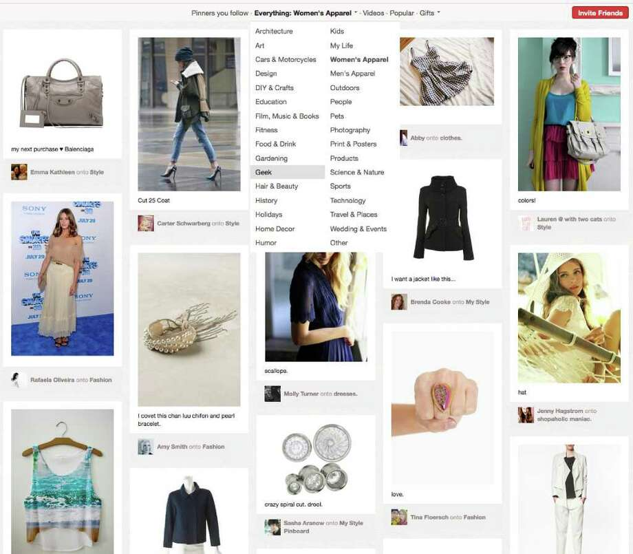 This screen shot shows a page of women's products from Pinterest. The site's popularity has exploded in recent weeks. In a twist, though, the surge is driven not by the usual geek crowd of young men from New York and San Francisco, but by women who live in the Midwest and the central U.S. They use the sleek, photo-heavy Pinterest for fashion inspiration, wedding planning and home design, or just to post photos of puppies. (AP Photo/Pinterest)