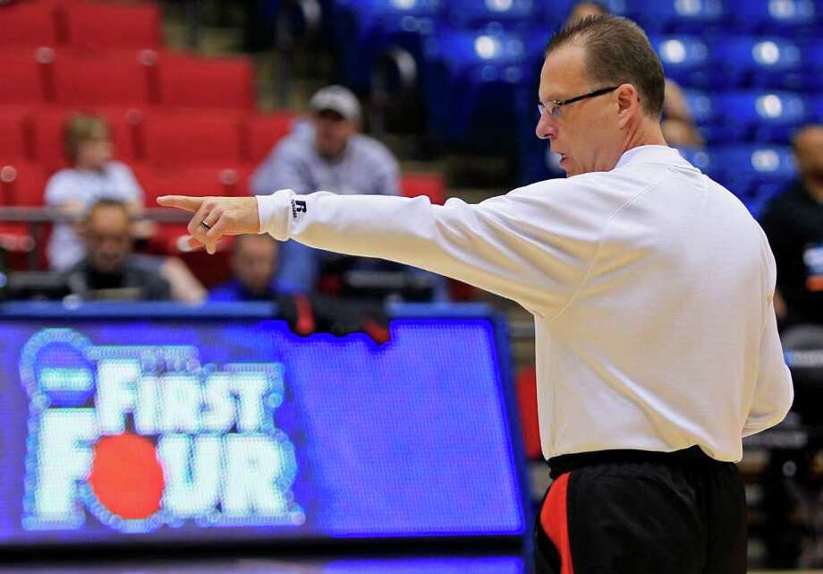 Western Kentucky coach Ray Harper directs his players during practice Monday, March 12, 2012, in Dayton, Ohio. Western Kentucky plays Mississippi Valley State on Tuesday evening in a first-round NCAA men's college basketball tournament game. Photo: AP