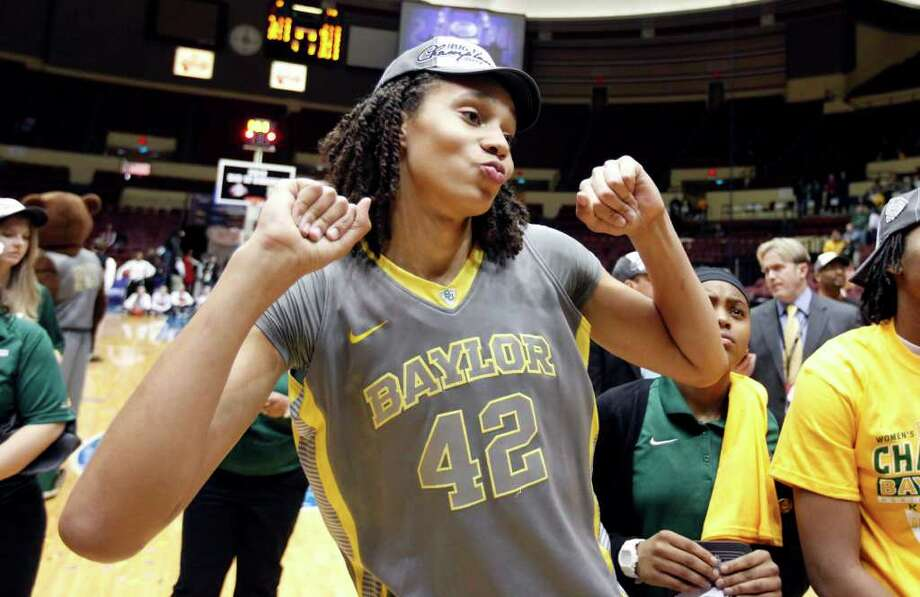 Baylor center Brittney Griner (42) celebrates after the victory over Texas A&M in an NCAA college basketball championship game at the women's Big 12 Conference tournament, Saturday, March 10, 2012 in Kansas City, Mo. Baylor won the game 73-50. Photo: AP