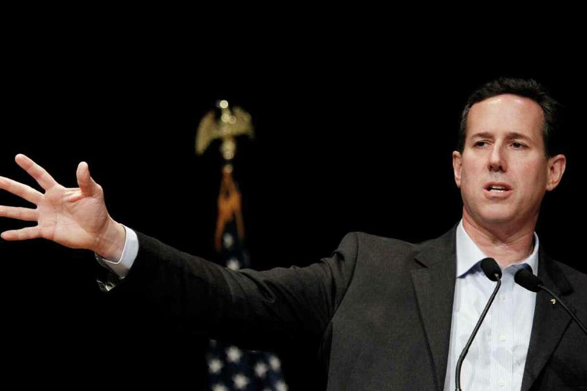 Republican presidential candidate, former Pennsylvania Sen. Rick Santorum, speaks at the Gulf Coast Energy Summit in Biloxi, Miss., March 12, 2012. (AP Photo/Rogelio V. Solis)