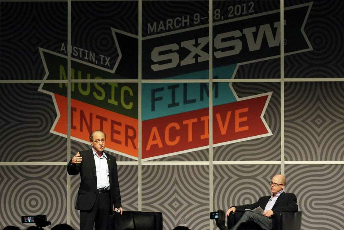 FOR METRO - Futurist and author Ray Kurzweil (left) speaks as author and Time Magazine writer Lev Grossman looks on during South by Southwest Monday March 12, 2012 at the Austin Convention Center in Austin, TX.