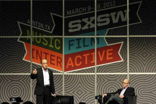 FOR METRO - Futurist and author Ray Kurzweil (left) speaks as author and Time Magazine writer Lev Grossman looks on during South by Southwest Monday March 12, 2012 at the Austin Convention Center in Austin, TX. Photo: EDWARD A. ORNELAS, SAN ANTONIO EXPRESS-NEWS / © SAN ANTONIO EXPRESS-NEWS (NFS)