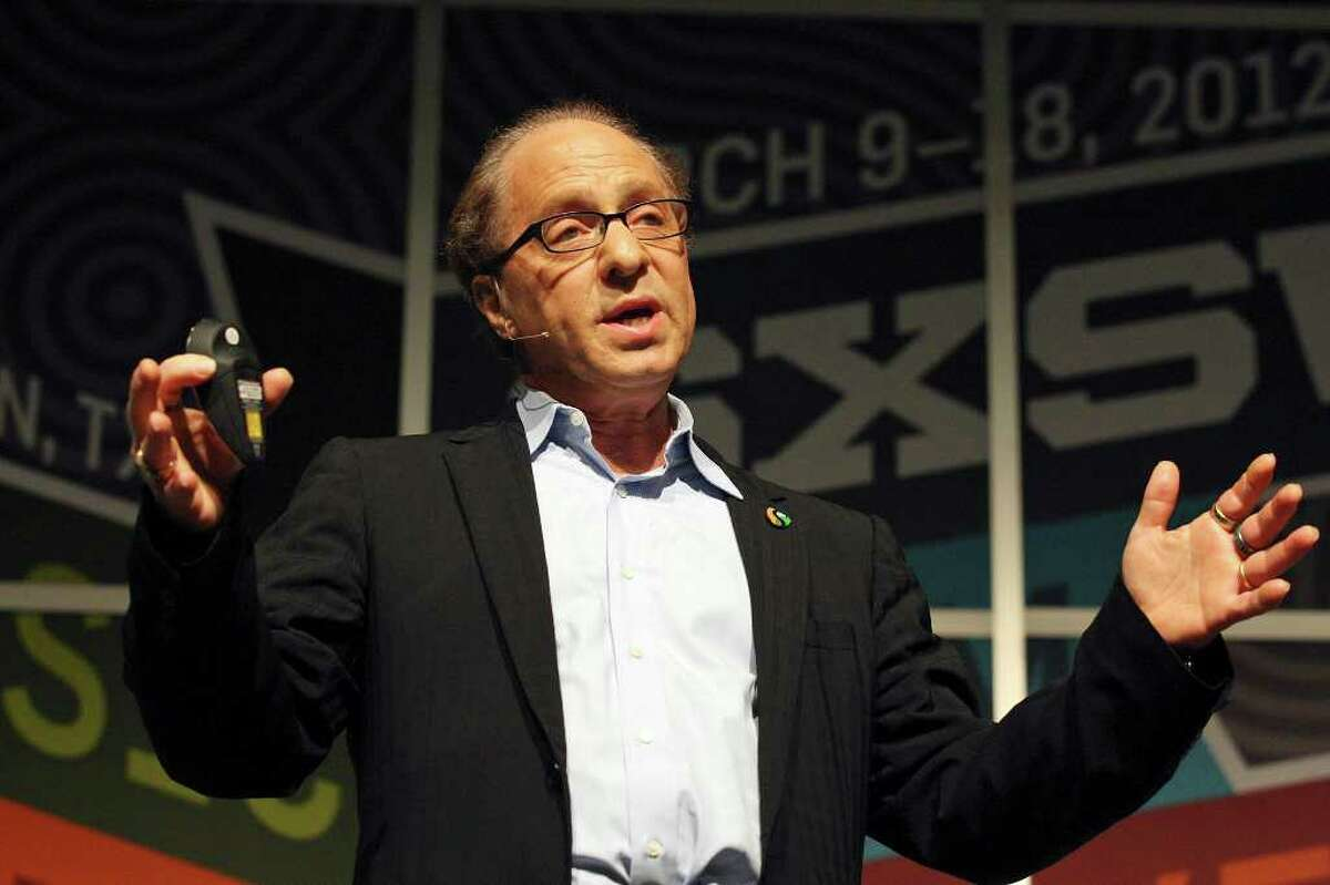 FOR METRO - Futurist and author Ray Kurzweil speaks during a keynote with author and Time Magazine writer Lev Grossman (not pictured) during South by Southwest Monday March 12, 2012 at the Austin Convention Center in Austin, TX.