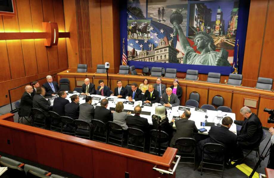 A senate hearing convened in the Legislative Office Building in Albany, N.Y. March 12, 2012, to discuss the insurance industry's response to the severe storms that hit the area last summer. (Skip Dickstein / Times Union) Photo: SKIP DICKSTEIN / 00016776A