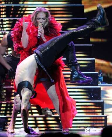 Jennifer Lopez, 42, and dancer boyfriend, Casper Smart, 24, performing in Las Vegas last September. (Ethan Miller / Getty Images for Clear Channel)