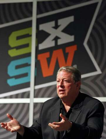 Former Vice President Al Gore speaks during a discussion with Napster co-founder Sean Parker (not pictured) during South by Southwest Monday, March 12, 2012 at the Austin Convention Center in Austin. Photo: EDWARD A. ORNELAS, San Antonio Express-News / © SAN ANTONIO EXPRESS-NEWS (NFS)