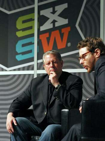 Former Vice President Al Gore (left) listens to Napster co-founder Sean Parker speak during South by Southwest Monday, March 12, 2012 at the Austin Convention Center in Austin. Photo: EDWARD A. ORNELAS, San Antonio Express-News / © SAN ANTONIO EXPRESS-NEWS (NFS)