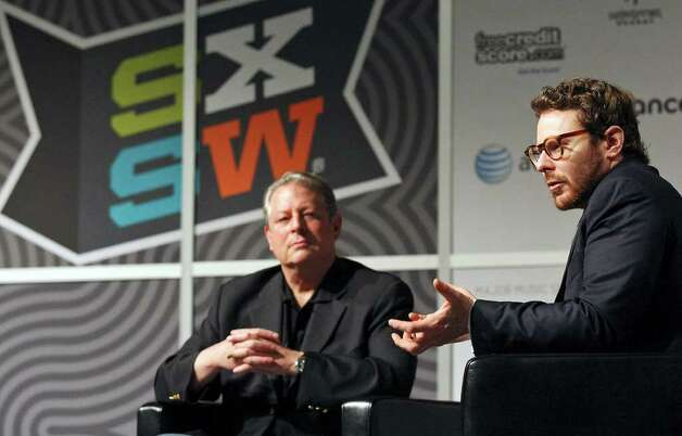 Napster co-founder Sean Parker (right) speaks as former Vice President Al Gore listens during South by Southwest Monday, March 12, 2012 at the Austin Convention Center in Austin. Photo: EDWARD A. ORNELAS, San Antonio Express-News / © SAN ANTONIO EXPRESS-NEWS (NFS)