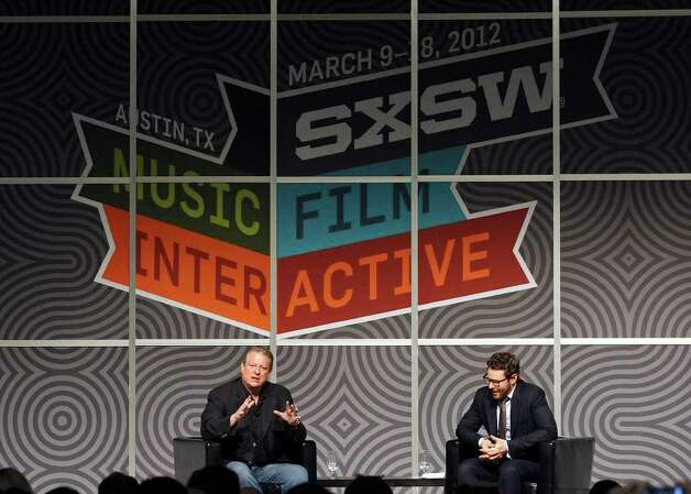 Former Vice President Al Gore (left) speaks during a discussion with Napster co-founder Sean Parker during South by Southwest Monday, March 12, 2012 at the Austin Convention Center in Austin. Photo: EDWARD A. ORNELAS, San Antonio Express-News / © SAN ANTONIO EXPRESS-NEWS (NFS)