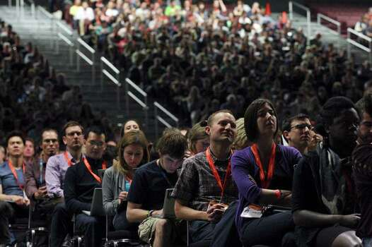 People listen to former Vice President Al Gore and Napster co-founder Sean Parker speak during South by Southwest Monday, March 12, 2012 at the Austin Convention Center in Austin. Photo: EDWARD A. ORNELAS, San Antonio Express-News / © SAN ANTONIO EXPRESS-NEWS (NFS)