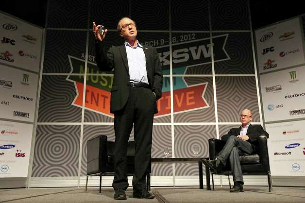 Futurist and author Ray Kurzweil (left) speaks as author and Time Magazine writer Lev Grossman looks on during South by Southwest Monday, March 12, 2012 at the Austin Convention Center in Austin. Photo: EDWARD A. ORNELAS, San Antonio Express-News / © SAN ANTONIO EXPRESS-NEWS (NFS)
