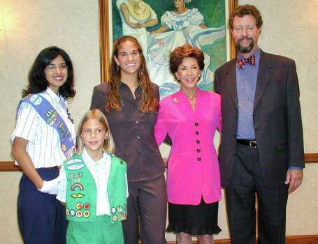 Stephanie Sanchez (Senior Girl Scout), Hannah Roabreck (Junior Girl Scout), Patricia Agold (ex-oficio board member, Senior Girl Scout), Joci Straus (honoree) and Tom Frost lll (event co-chair) were at the Adam's Mark hotel on Sept. 20, 2001, for the Girl Scouts honoring of Joci Straus. Photo: LELAND A. OUTZ, Express-News File Photo