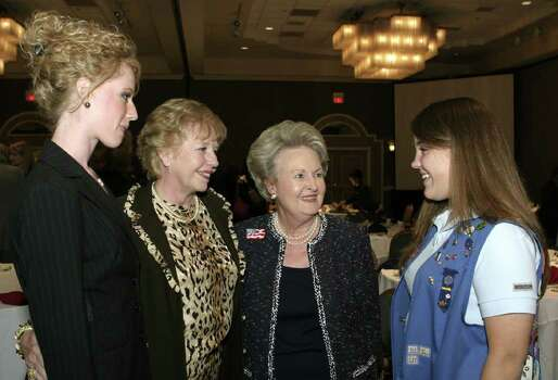 Lauren Loeffler (committee member, daughter), Nancy Loeffler (honoree), Nancy Zachry (event chair) and Katie Pelton (Senior Girl Scout, Ex-Officio board member) were at the Omni Hotel on Sept. 12, 2006, for the Girl Scouts of S.A. Area Trefoil Award. Photo: LELAND A. OUTZ, Express-News File Photo / SAN ANTONIO EXPRESS-NEWS
