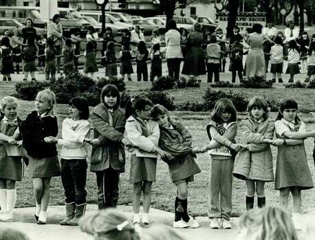 San Antonio area Girl Scouts participate in a retreat ceremony at Randolph AFB in March 1987. Photo: Express-News File Photo