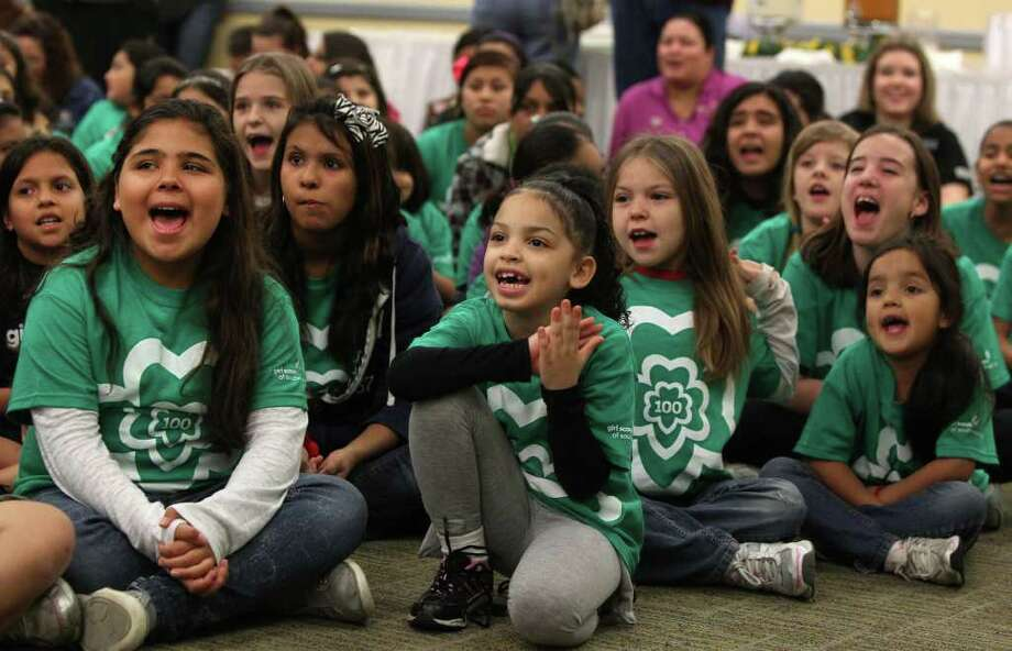 In conjunction with its 100th anniversary, the Girl Scouts of Southwest Texas on Monday introduced leadership initiatives for girls. Photo: San Antonio Express-News